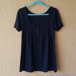 Fang navy blue striped knit blouse Sz. XL